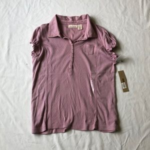 Light pink collared shirt! pattern and buttons!